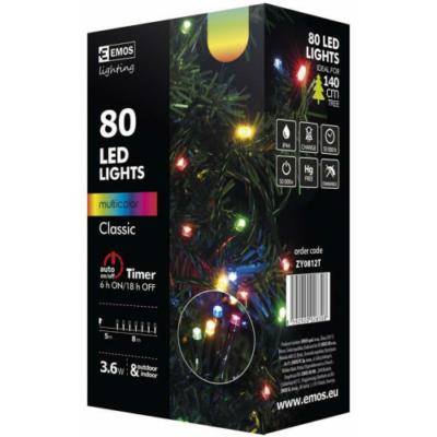 EMOS ZY0812T kültéri karácsonyi fényfüzér, 80 LED, multicolor