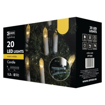 EMOS ZY1424 Kültéri karácsonyi gyertya fényfüzér, 20 LED, 7m, meleg fehér