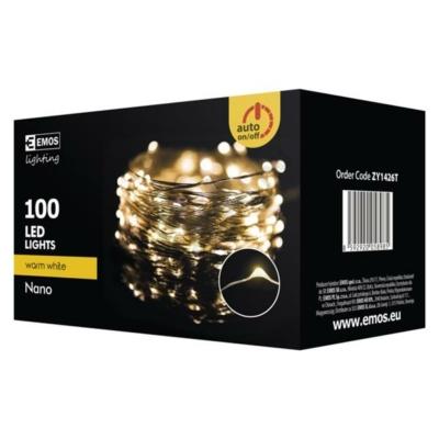 EMOS ZY1426T kültéri karácsonyi fényfüzér, nano100 LED, 10m, meleg fehér