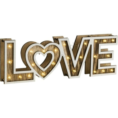 GLOBO 29976 LOVE asztali lámpa, fa, akril, 3xAA elem