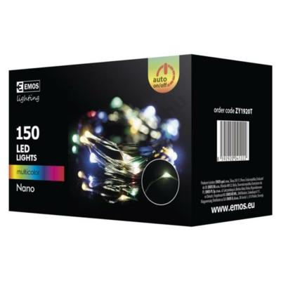 EMOS ZY1920T kültéri karácsonyi fényfüzér, nano 150 LED, 15m, színes