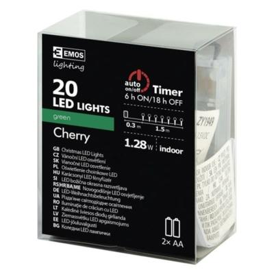 EMOS ZY1949 karácsonyi füzér Cherry IP20 zöld 2xAA
