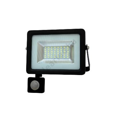 LED reflektor 230V 20W fekete SMD 5730 4000K mozgásérzékelővel
