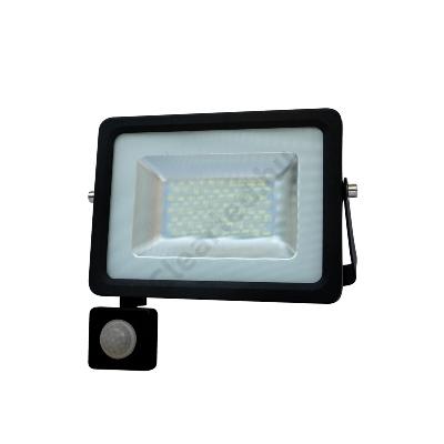 LED reflektor 230V 30W fekete SMD 5730 4000K mozgásérzékelővel