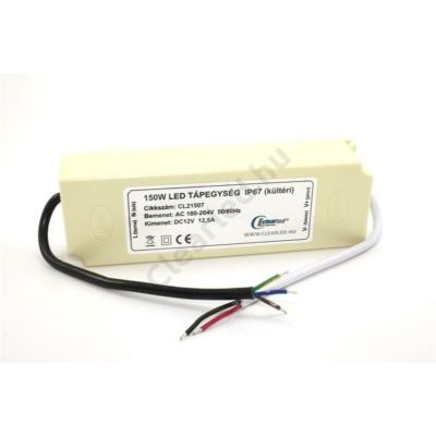 LED tápegység 12V DC IP67 150W Vízvédett műanyagház
