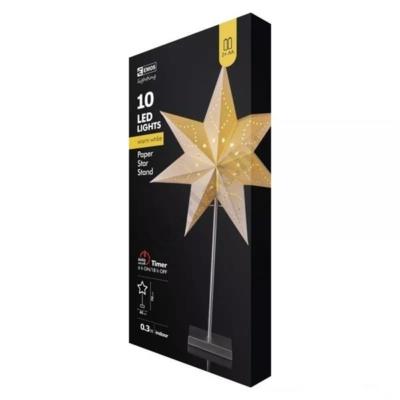 EMOS ZY2177 karácsonyi asztaldísz, papír csillag, 10 LED, meleg fehér
