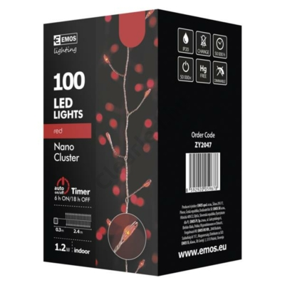 EMOS ZY2047 beltéri karácsonyi fényfüzér, nano süni 100 LED, piros