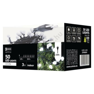 EMOS ZYK0201 beltéri karácsonyi fényfüzér, 50 LED, CHERRY, hideg fehér