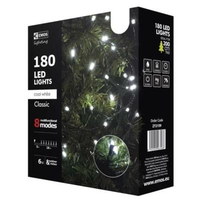 EMOS ZY2159 kültéri karácsonyi fényfüzér, 180 LED, hideg fehér, multifunkciós