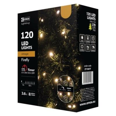 EMOS ZY1907T kültéri karácsonyi fényfüzér, 120LED, 12m, borostyán sárga