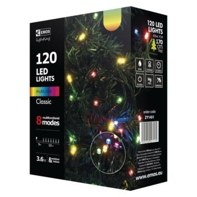 EMOS ZY1451 kültéri karácsonyi fényfüzér, 120 LED, 12m, multicolor, 8 program