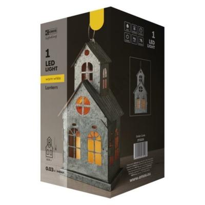 """EMOS ZY2223 karácsonyi dísz, ház alakú, meleg fehér gyertya fény hatású LED """"lámpás"""""""