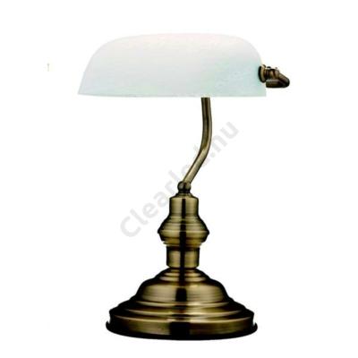 GLOBO 2492 ANTIQUE asztali banklámpa bronz, fehér üveggel