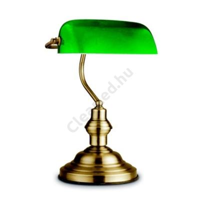 Globo 24934 ANTIQUE asztali banklámpa bronz zöld üveggel