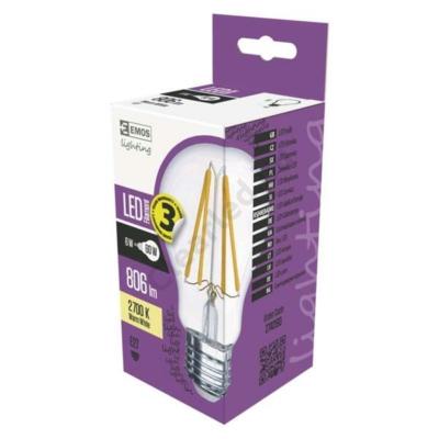 EMOS Z74260 E27 6W filament LED körte, 806lm, 2700K